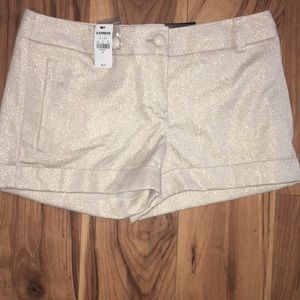 NWT Gold Sparkle Dress Express Shorts